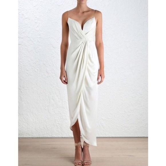0c9ea5f232cd Zimmermann Dresses | Nwt White Silk Long Plunge Dress Sz 46 | Poshmark